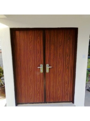 SL2030-Double Door-Multi-locking High Security Steel Door-Walnut 3 finish