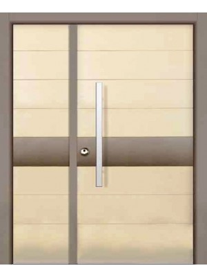 SL 8004 | Color 1013 ivory textured .Strip - color 441P beige granulated-One+Half -Prestigious multi-locking High Security Steel Door