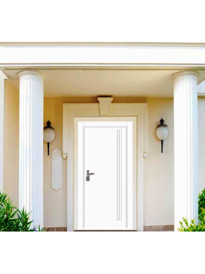 SL CHIC- 3017  | Color 9016 white granulated  Prestigious  Multi-locking High Security Steel Door