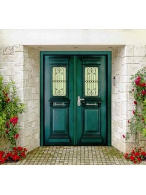 SL 7010-Green Granulatred-Double leaf prestegious Multi-locking High Security Steel Door
